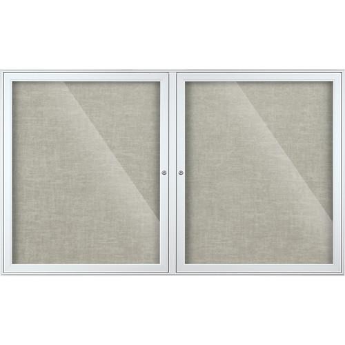 Best Rite Indoor Enclosed Two-Door Bulletin Board Cabinet (3x5', Platinum Vinyl)
