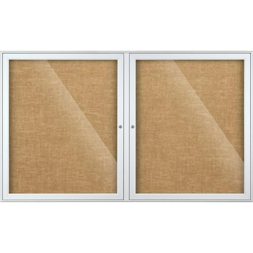 Best Rite Indoor Enclosed Two-Door Bulletin Board Cabinet (3x5', Natural Vinyl)