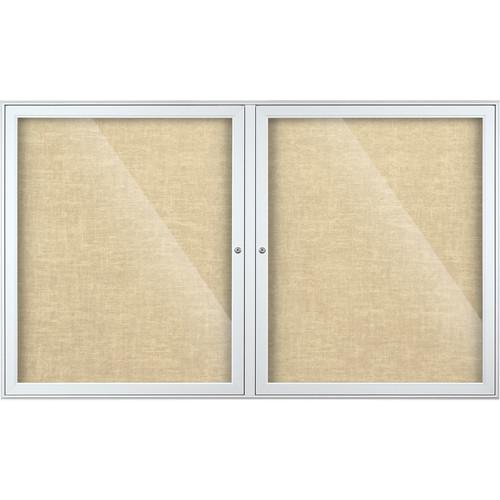 Best Rite Indoor Enclosed Two-Door Bulletin Board Cabinet (3x5', Pelican Vinyl)