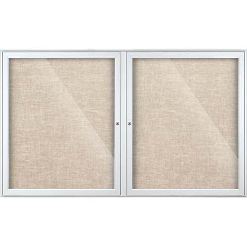 Best Rite Indoor Enclosed Two-Door Bulletin Board Cabinet (3x5', Sterling Vinyl)