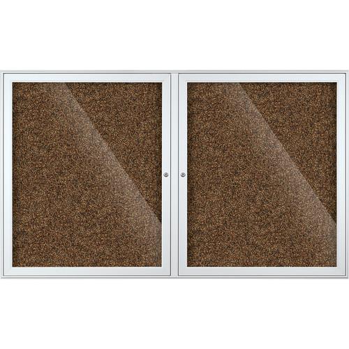 Best Rite Indoor Enclosed Two-Door Bulletin Board Cabinet (3x5', Tan Rubbertak)