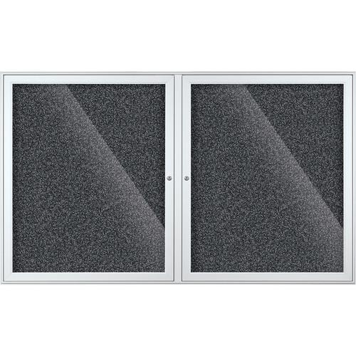 Best Rite Indoor Enclosed Two-Door Bulletin Board Cabinet (3x5', Black Rubbertak)