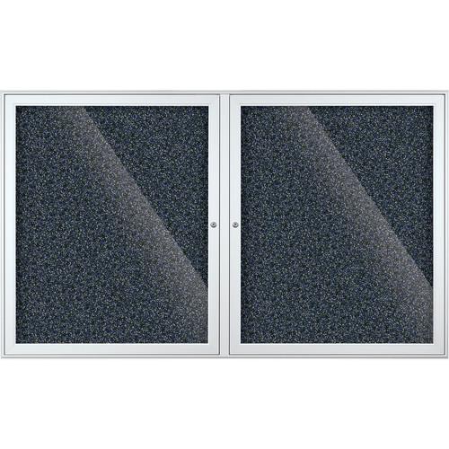 Best Rite Indoor Enclosed Two-Door Bulletin Board Cabinet (3x5', Blue Rubbertak)