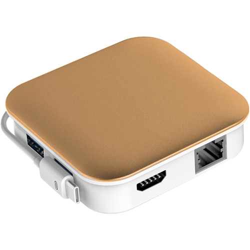 Bidul & Co. Ultimate Hub 2-Port USB 3.1 Gen 1 Hub with Ethernet, Card Reader, Charging, and HDMI (Gold)