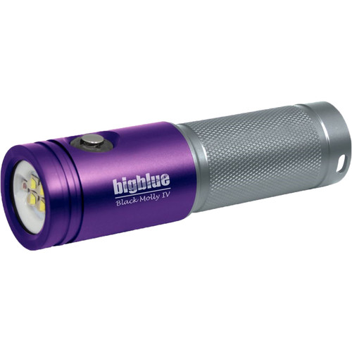 Bigblue Black Molly 4 Tri-Color LED Dive Light (Purple/Silver)