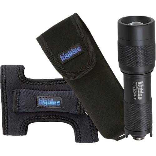 Bigblue AL450WMT Mini LED Dive Light with Wide Beam, Goodman Glove, and Pouch (Black)