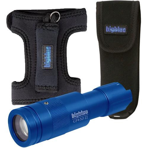 Bigblue 450-Lumen Adjustable-Beam Dive Light (Diving Glove, Pouch, Blue)