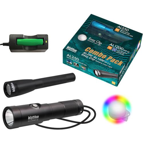 Bigblue Combo Pack: Black AL250 & AL1200NP-II Dive Lights with Rainbow Clip