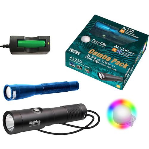 Bigblue Combo Pack: Blue AL250 & AL1200NP-II Dive Lights with Rainbow Clip