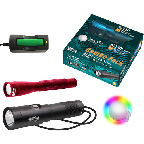 Bigblue Combo Pack: Red AL250 & AL1200NP-II Dive Lights with Rainbow Clip
