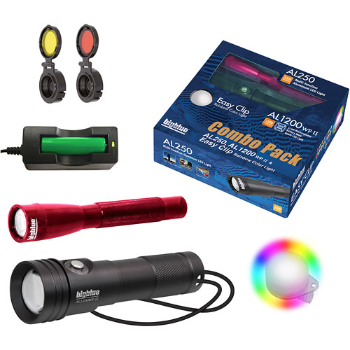 Bigblue Combo Pack: Red AL250 & AL1200WP-II Dive Lights with Rainbow Clip