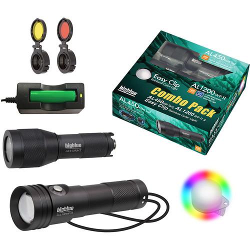 Bigblue Combo Pack: AL450 Narrow & AL1200WP-II Dive Lights with Rainbow Clip