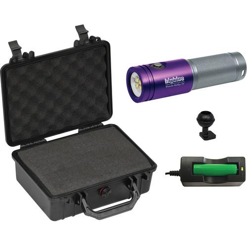 Bigblue Black Molly 4 Tri-Color LED Dive Light (Purple/Silver) with Hard Case