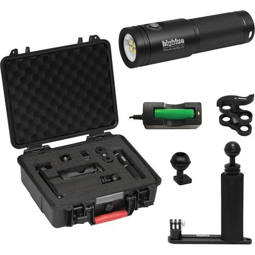 Bigblue Black Molly 4 Tri-Color LED Dive Light with Single-Arm Tray & Case Kit (Black)