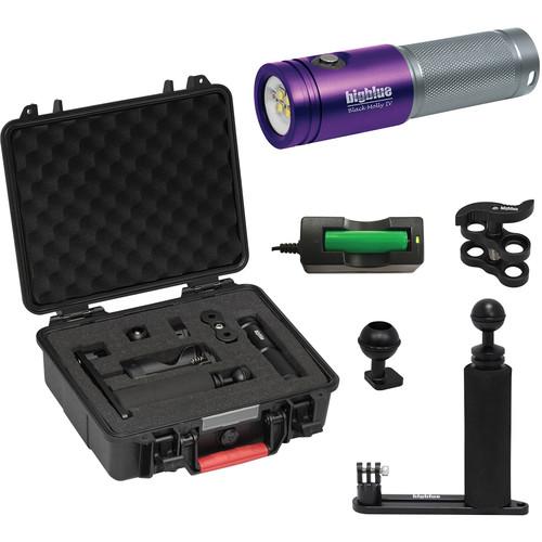 Bigblue Black Molly 4 Tri-Color LED Dive Light with Single-Arm Tray & Case Kit (Purple)