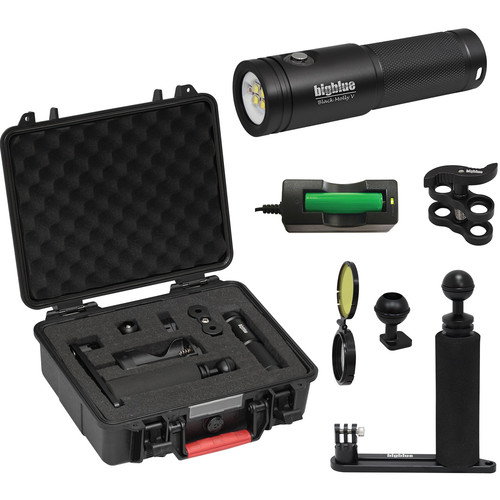 Bigblue Black Molly 5 Dive Light with Single-Arm Tray, Clip and Case Kit (Black)