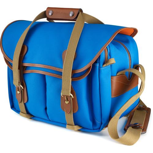Billingham 335 Shoulder Bag (Canvas, Imperial Blue with Tan Leather Trim)
