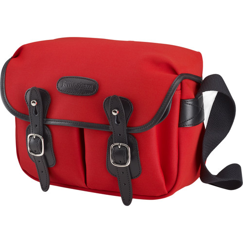 Billingham Hadley Shoulder Bag Small (Neon Red with Black Leather Trim and Black Lining)