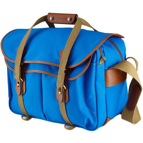 Billingham 445 Shoulder Bag (Imperial Blue Canvas with Tan Leather Trim)