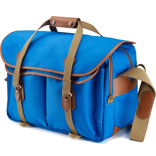 Billingham 555 Shoulder Bag (Imperial Blue Canvas with Tan Leather Trim and Brass Fittings)