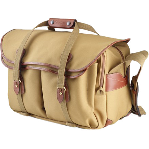 Billingham 555 Shoulder Bag (Khaki FibreNyte with Tan Leather Trim and Brass Fittings)