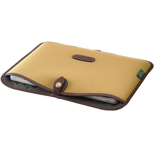 """Billingham Slip Case for 13"""" Laptop (Khaki FibreNyte & Chocolate Leather)"""