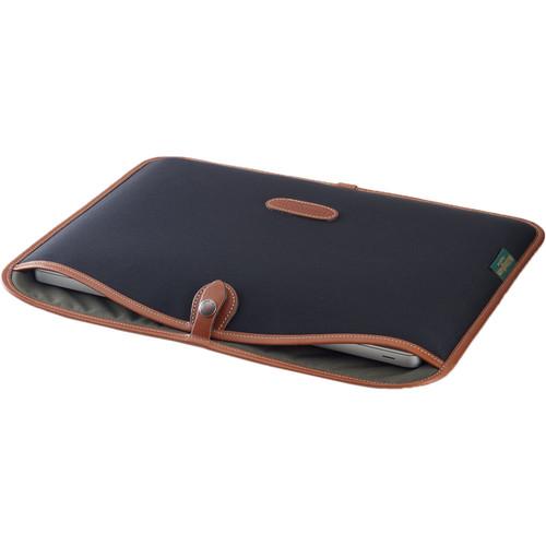 """Billingham Slip Case for 15"""" Laptop (Black Canvas & Tan Leather Trim)"""