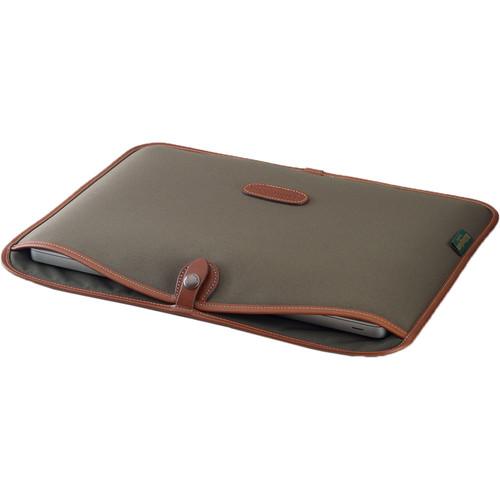 """Billingham Slip Case for 15"""" Laptop (Sage FibreNyte & Chocolate Leather Trim)"""