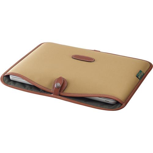 """Billingham Slip Case for 13"""" Laptop (Khaki Canvas & Tan Leather Trim)"""
