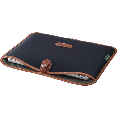 "Billingham Slip Case for 13"" Laptop (Black Canvas & Tan Leather Trim)"