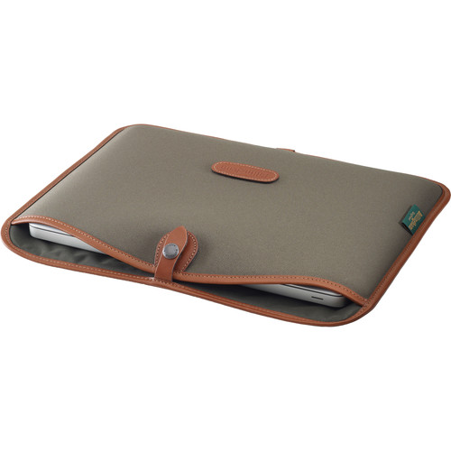 "Billingham Slip Case for 13"" Laptop (Sage FibreNyte & Tan Leather Trim)"
