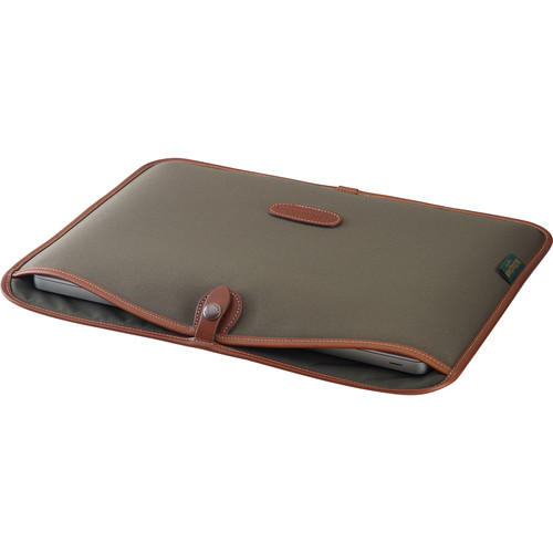 "Billingham Slip Case for 15"" Laptop (Sage FibreNyte & Tan Leather Trim)"