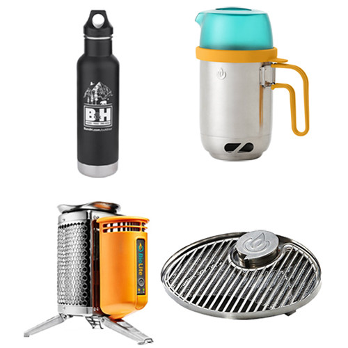 BioLite CampStove & Charger Kit w/ KettlePot, Grill Top & Water Bottle