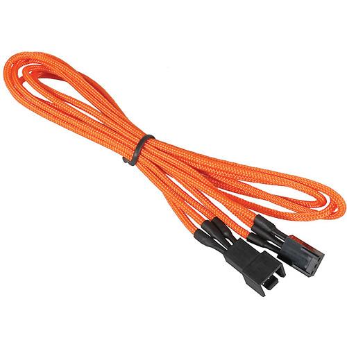 """BitFenix Alchemy Fan Extension Cable (35.4"""", Orange Sleeve/Black Connectors)"""