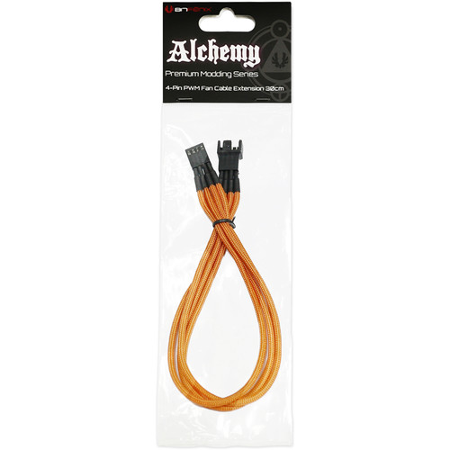 """BitFenix Alchemy PWM Fan Extension Cable (11.8"""", Orange Sleeve/Black Connectors)"""