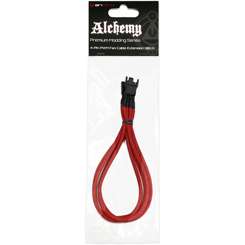 "BitFenix Alchemy PWM Fan Extension Cable (11.8"", Red Sleeve/Black Connectors)"