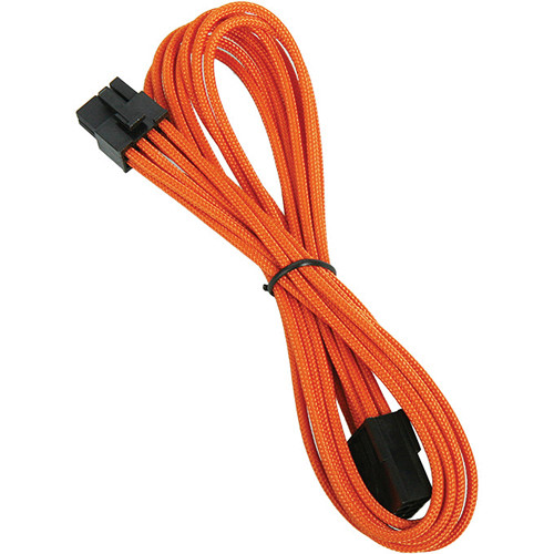 """BitFenix 8-Pin Alchemy Video Card Extension Cable (17.7"""", Orange Sleeve/Black Connectors)"""