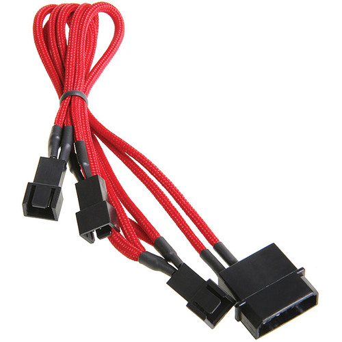 "BitFenix Alchemy 5V 4-Pin Molex to 3 x Fan Adapter Cable (7.8"", Red)"