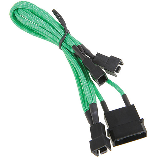 "BitFenix Alchemy 7V 4-Pin Molex to 3 x Fan Adapter Cable (7.8"", Green)"