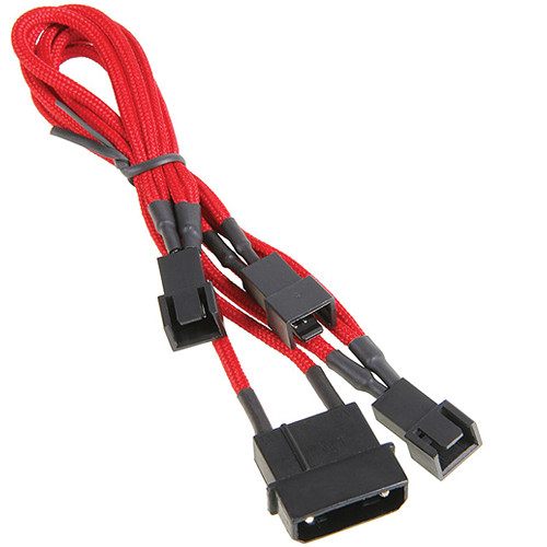 "BitFenix Alchemy 7V 4-Pin Molex to 3 x Fan Adapter Cable (7.8"", Red)"