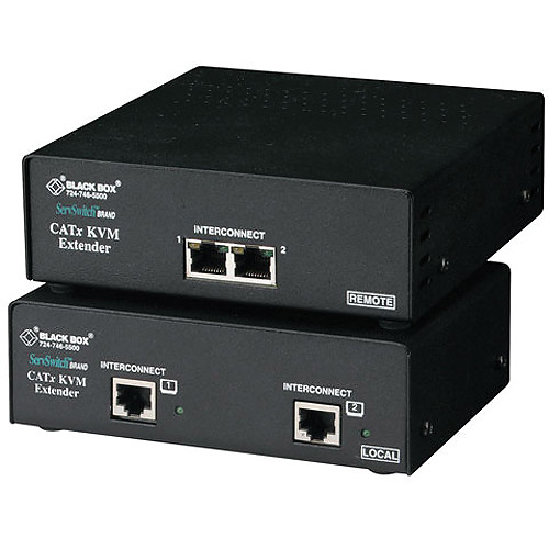 Black Box ACU2222A-R2 ServSwitch KVM (Dual-VGA/PS/2/Audio/Serial) over 2 CATx Single-Access Extender Kit