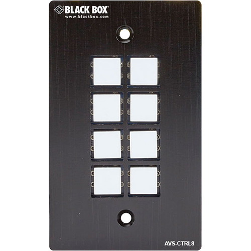 Black Box 8-Button RS-232 Wall Plate Control Panel for AV / KVM Devices