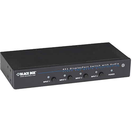 Black Box 4-Input/1-Output DisplayPort 1.1 Switch with Serial and Audio