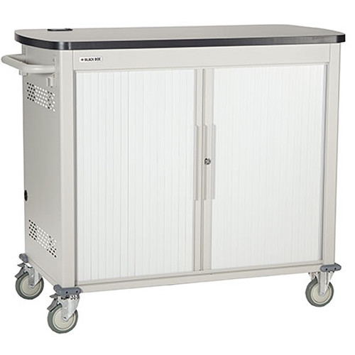 """Black Box Adjustable-Shelf 18-Slot Charging Cart for Select Devices Up to 13"""" (Double-Frame, Tambour Door)"""