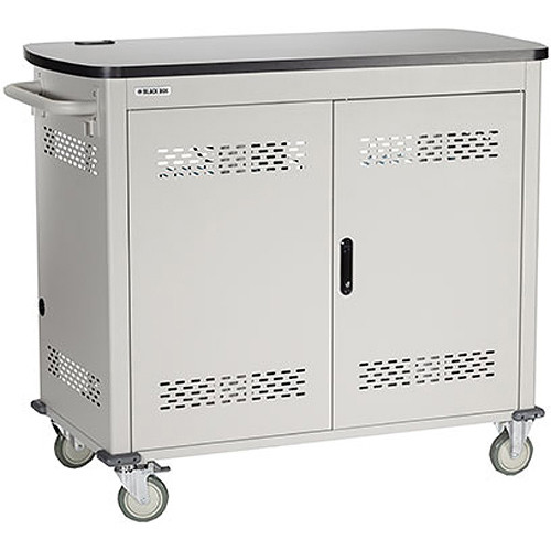 "Black Box Adjustable-Shelf 36-Slot Charging Cart for Select Devices Up to 13"" (Double-Frame, Steel Hinged Door)"