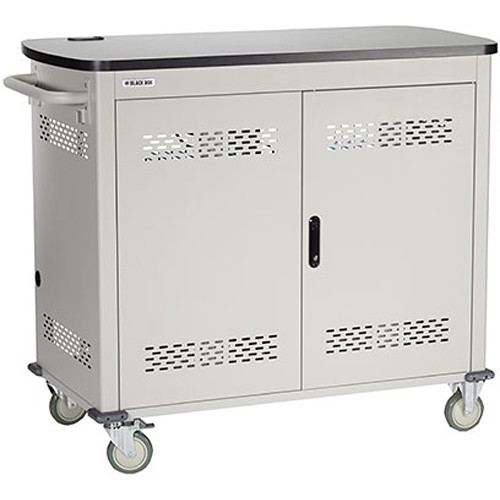 """Black Box Adjustable-Shelf 40-Slot Charging Cart for Select Devices Up to 7"""" (Double-Frame, Steel Hinged Door)"""