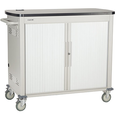 """Black Box Adjustable-Shelf 40-Slot Charging Cart for Select Devices Up to 7"""" (Double-Frame, Tambour Door)"""