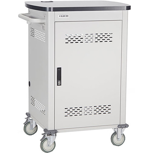 "Black Box Adjustable-Shelf 18-Slot Charging Cart for Select Devices Up to 10"" (Single-Frame, Steel Hinged Door)"