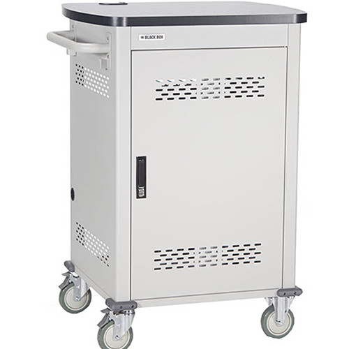 "Black Box Adjustable-Shelf 27-Slot Charging Cart for Select Devices Up to 10"" (Single-Frame, Steel Hinged Door)"