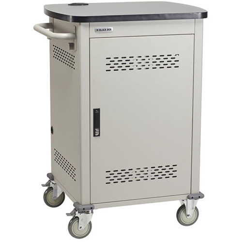 "Black Box Adjustable-Shelf 10-Slot Charging Cart for Select Devices Up to 10"" (Single-Frame, Steel Hinged Door)"